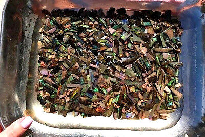 7.5 tr oz Parcel of Andamooka Matrix Treated Rough Opal Slices, multicolours