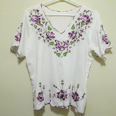Vtg 80s Mexican Hippy gypsy festival embroidery purple flower blouse shirt top M