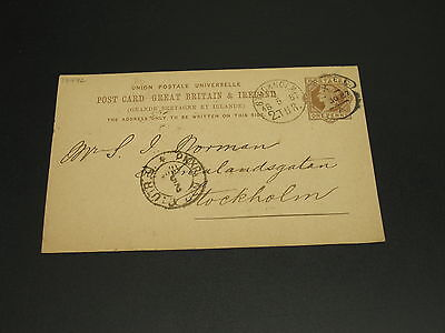 UK 1887 postal card to sweden *17772