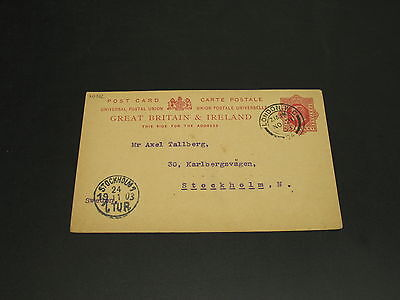 UK 1903 postal card to sweden faults *20192