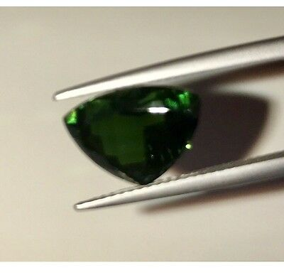 Chrome Tourmaline 3.77ct Triangle shape with Gem & Pearl lab certificate