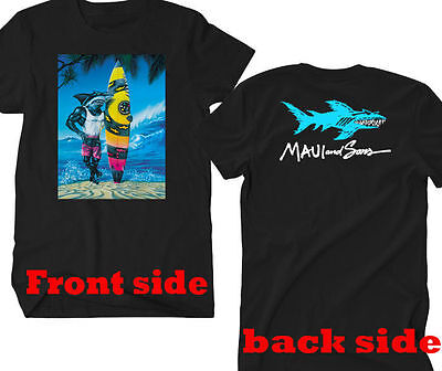 New Rare ITEM !!! maui and sons shark logo Black T-Shirt Tees Size S-5XL