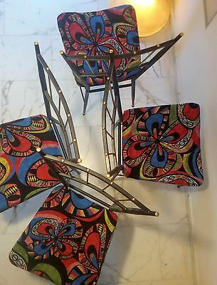 GORGEOUS 1950s Mid Century Italian Set of Brass and Iron Four Chairs