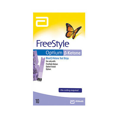 Ketone Test Strips FreeStyle Optium Blood 1 PACK = 10 STRIP ABBOTT *MVC* 09/2018