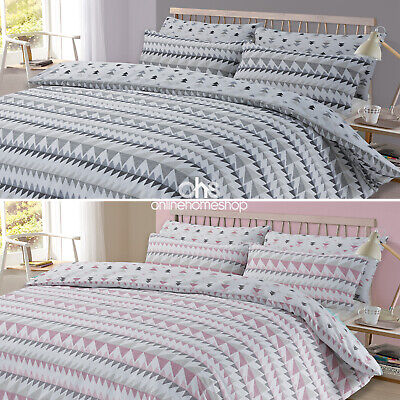 Duvet Cover with Pillowcase Geometric Rewind Bedding Set Pastel Grey White Pink