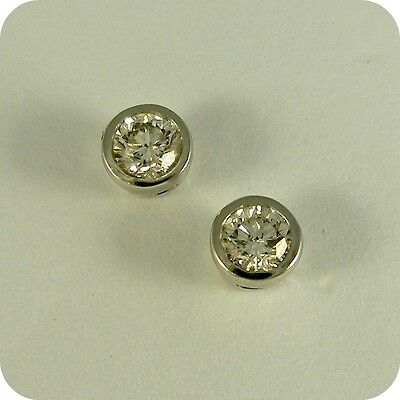 18 carat White Gold Rubover style Diamond Stud Earrings