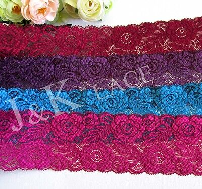 8.2 cm width Dark Red /Peacock Blue / Purple /Violet Red Stretch Lace Trim