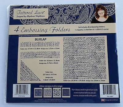 Tattered Lace 'BURLAP' Embossing Folders - 4 folders in the set -  (4 pieces)