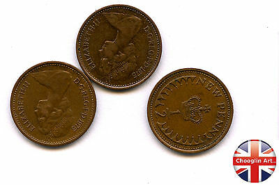 Collection of x3 1975 British Bronze ELIZABETH II HALF NEW PENNY Coins