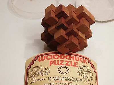 Casse tête bois Woodchuck puzzle vintage Made in England Wood brain teaser