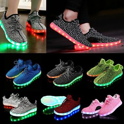 Pair Unisex 7 LED Light Lace Up Luminous Shoes Sportswear Sneaker Casual Shoes