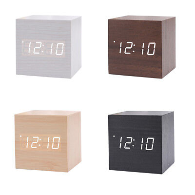 Wood Digital Backlight LED Display Table Alarm Clock Snooze Thermometer Calendar