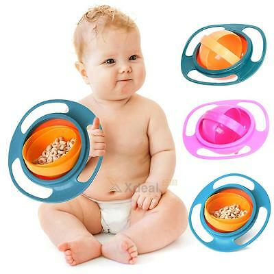 Baby Kids Feeding Dish Gyro Bowl Universal 360 Rotate Spill-Proof Bowl Dishes