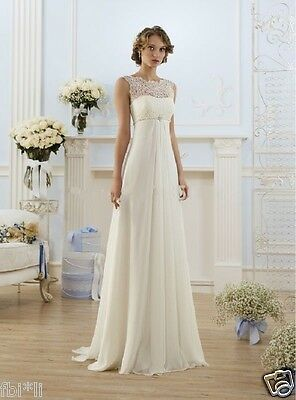 Hot NEW White/Ivory Lace Wedding dress Bridal Gown stock size:6-8-10-12-14-16-18