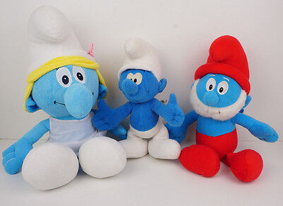Smurf Plush Toys Bundle Papa, Smurfette and Clumsey