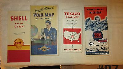Lot of 4 Vintage Road Maps, Texaco, Sears, Shell & Sunoco War Map