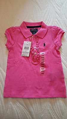 Genuine Ralph Lauren Girls Pink Polo Shirt, Size 2T/Ages 1-2, Ideal Gift RRP £45