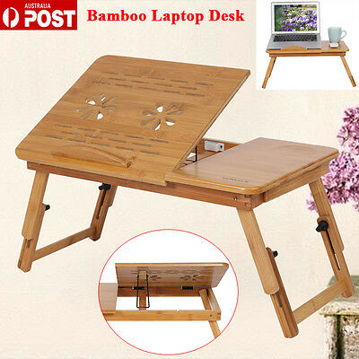 New Adjustable Bamboo Laptop Bed Desk Foldable Stand Holder with Hole AU STOCK