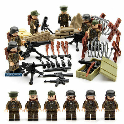 WWII German Soldiers - Camo - Compatible with Lego - Army Military Gun War