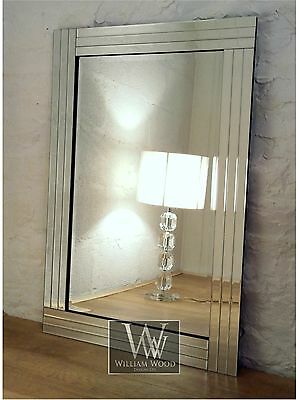 "Trevina Silver Glass Framed Rectangle Bevelled Wall Mirror 36"" x 24"" Large"