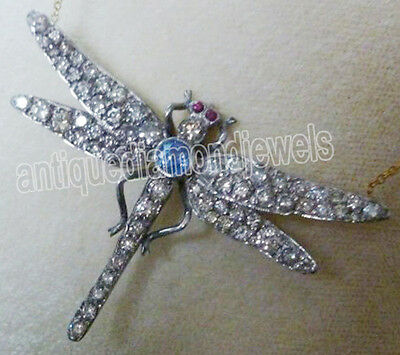 3.80ct ROSE CUT DIAMOND RUBY & SAPPHIRE .925 STERLING SILVER BROOCH