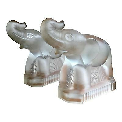Lovely 60's Glass Elephant Bookends - A Pair