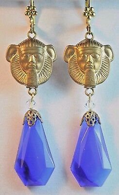 Vtg Raw Brass Earrings Art Nouveau Egyptian Revival Blue Czech Glass Handmade