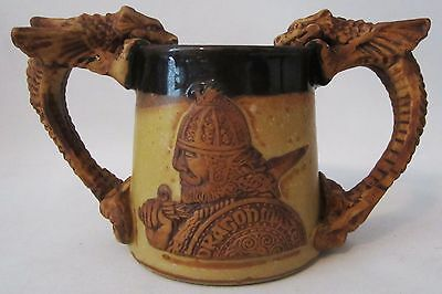 Dragon Master Maiden Warrior  Art Pottery Mug Fantasy Stein Stonebridge England