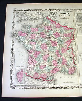 1862 Antique Original Johnson's Hand-Colored Map of FRANCE, BELGIUM & HOLLAND