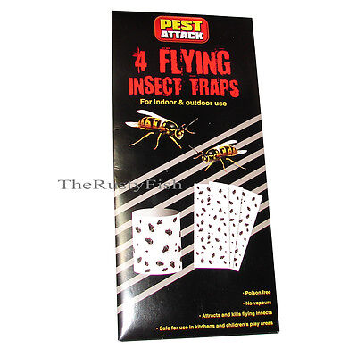 FLYING INSECT STICKY GLUE HANGING PAPER TRAPS FLY BUGS MIDGE GNAT LARGE 30x11cm