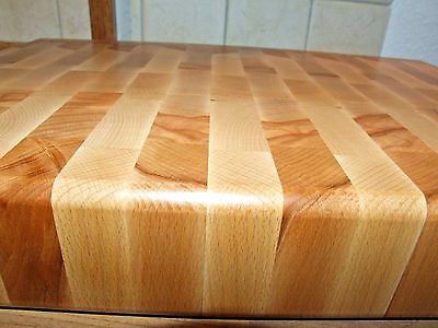 "Polished Reversible HUGE Handmade Solid Wood Chopping BOARD 3"" thick!,"