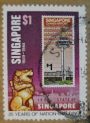 a# FRANCOBOLLO STATE OF SINGAPORE 1959/84 25YEARS NATION-BUILDING CHANGI AIRPORT