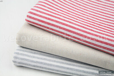 "French Ticking Striped Cotton Linen Blend Fabric Premium Quality 55"" Wide"