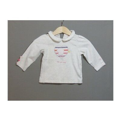 T-Shirt Obaibi col claudine fille 6 mois AR01222