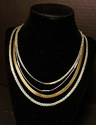 4 Preowned Yellow Gold Ladies And Men Necklaces A+ Condition Jewelry Pieces Lot