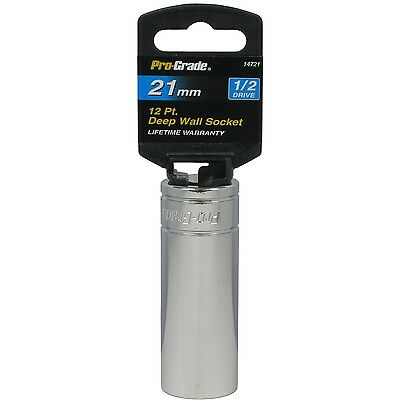 Pro-Grade 14721 1/2-Inch Drive with 12 Point Deep 21mm Socket