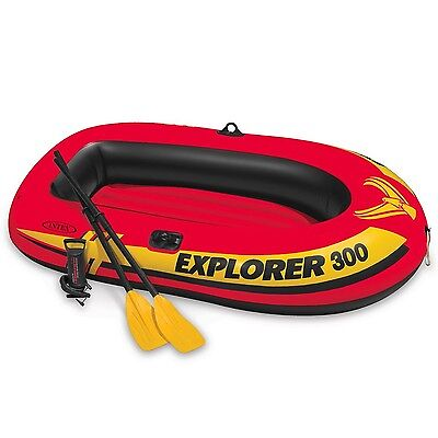 Intex Explorer 300 3-Person Inflatable Boat Set with French Oars and High Out...