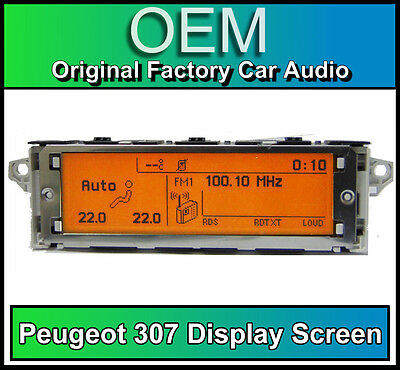 Peugeot 307 display screen, RD4 radio LCD Multi function clock dash