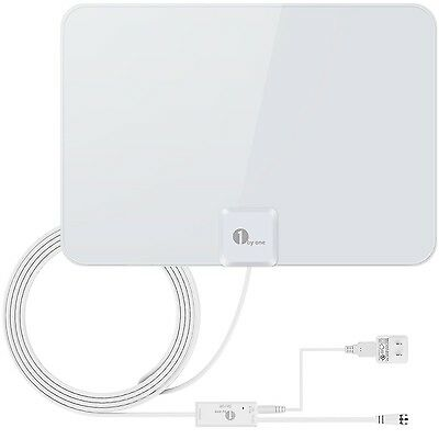 1byone 50 Miles Amplified HDTV Antenna with Detachable Amplifier Booster USB ...