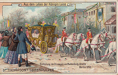 Chromo Dr. Thompson Soap Advertising Trade Card Queen Louise Horse Carriage Cart