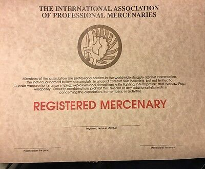 Registered Mercenary Certificate , Comes With Embossed Seal