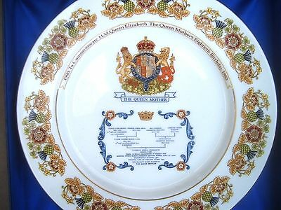 Boxed Aynsley Queen Mother 80th Birthday Plate. 1980 Shows Ancestry FREE UK POST