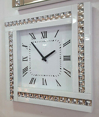 Modern Diamonte Crystal Mirrored Glass Square Wall Clock 45cm White Frame 918W