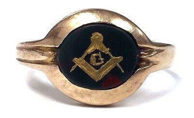 1935 Vintage 10K Gold & Bloodstone Masonic Freemason Men's Ring - Size 10 1/2