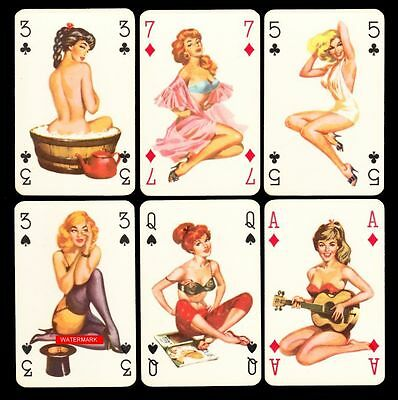 PIN UP Playing-Cards SPIELKARTEN KARTENSPIEL c.1960er Jahre PIN-UP Playing Cards