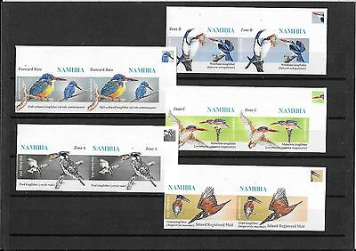 Rare Namibia Stamps - 2014 Kingfishers Set of 5 imperf u/m