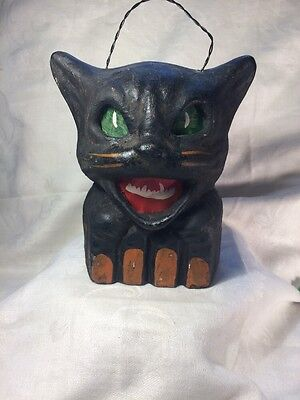 Halloween Paper Mache  Black Cat on a Fence Lantern  L2