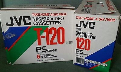 JVC T-120 Premium STD VHS SEALED With Six Pack Carry Case