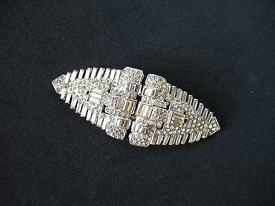 Fabulous Large Vintage CRYSTAL RHINESTONE DUETTE Brooch Fur Clips - Exc Cond