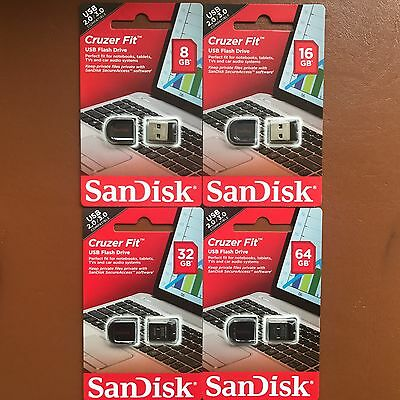 New SanDisk 8/16/32/64 GB Cruzer Fit CZ33 USB 2.0/3.0 Flash Stick Mini Pen Drive